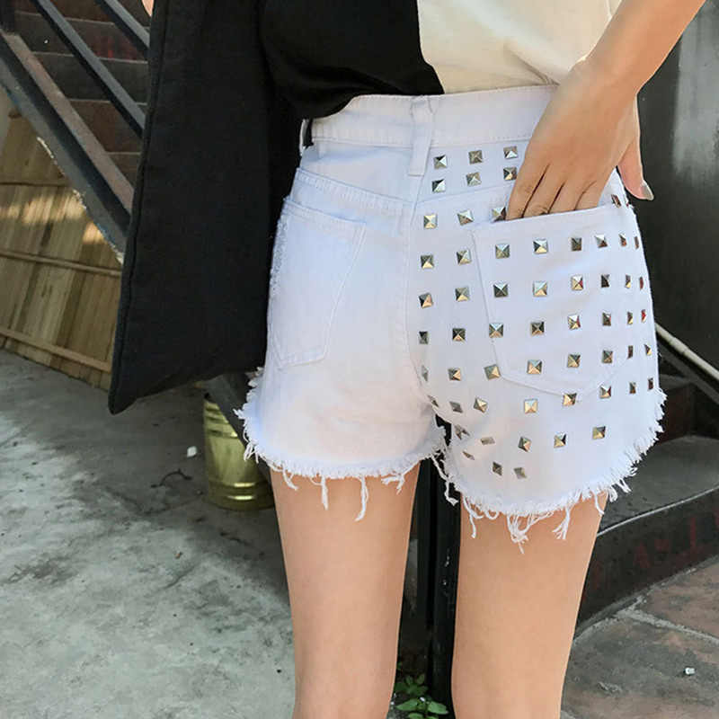 Lato kobiet Denim szorty frędzle zgrywanie nit wysokiej talii dziewczyny na co dzień krótkie Jeans JS26