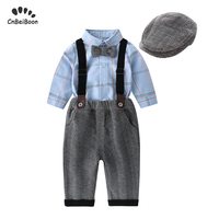 Baby Boy Clothing Sets 2019 Newborn Infant Boys Clothes long sleeve Tie Shirts+Hat+Pants+strap 4PCS Outfits Suit gentleman dress