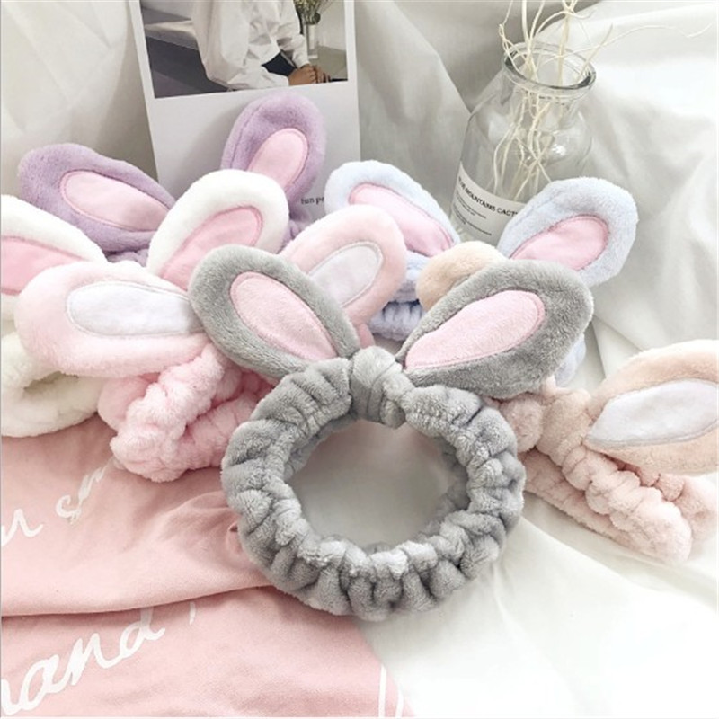 1PC Fashion Women Girls Rabbit Ears Hairband Elastic Headdress Headband Hair Accessories Cotton Makeup Wash Face Turbans(China)