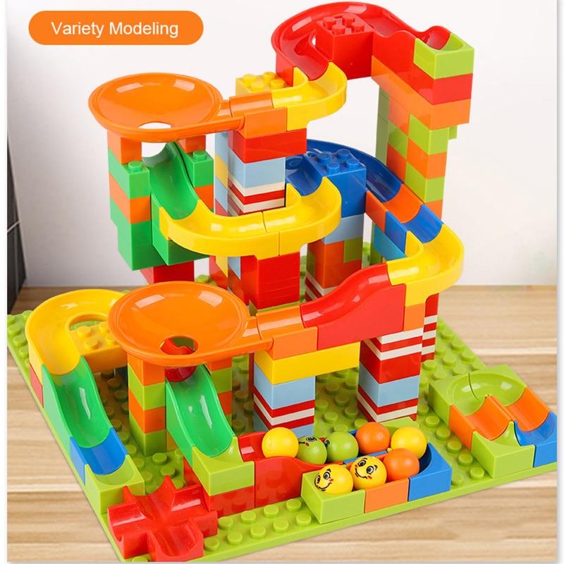 330PCS ABS Assemble Funnel Slide Bricks Toys Christmas Gift Track Blocks Marble Race Run Maze Ball Track Building Blocks Set