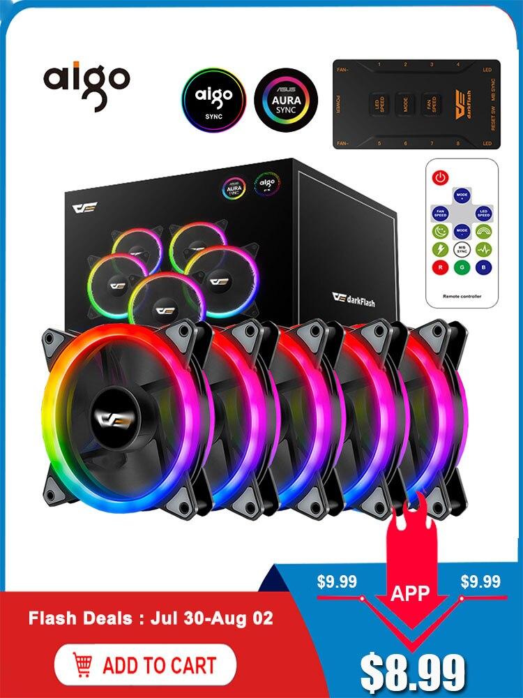 Aigo Computer Cooler Case Fans Fan-Speed LED Quiet 120mm Aura-Sync Fan Rgb Remote Adjust