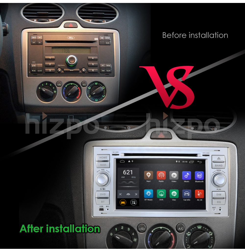 Android 9.0 Quad Core Double 2 Din Car DVD GPS Navigation Player Multimedia Player for For Ford/Mondeo/Focus/Transit/C-MAX/S-MAX