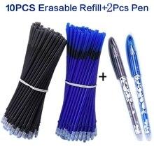 2+10Pcs/Set Gel Pen 0.5mm Erasable Washable Handle Refill Rod Blue Black Ink School Stationery Office Writing Tool