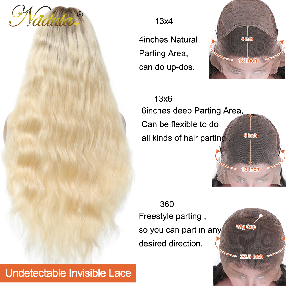 Nadula  Wigs 150% Density Ombre Blonde Pre-Plucked Lace Front Wig 13x4/13x6 /360 Lace Frontal Wig T4/613 Color 3