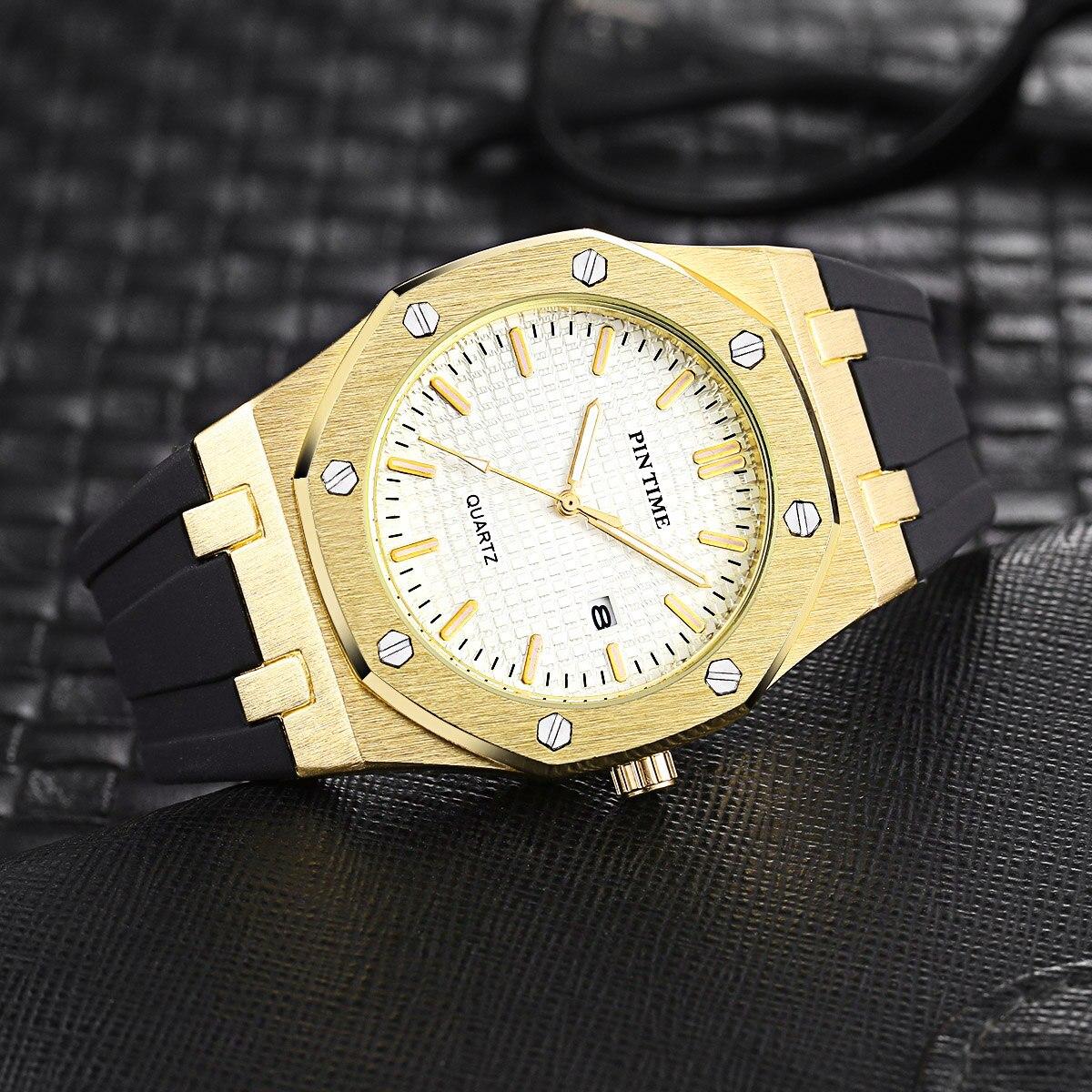 luxo silicone quartzo militar relógios calendário ouro