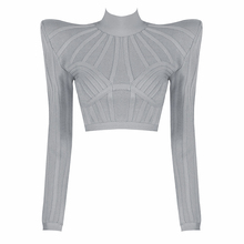 Long Sleeve T-Shirts Bodysuits Black Grey High-shoulder Sexy Women's Breathable Slim Short Crop Top Bandage Top High Quality
