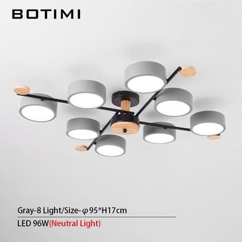BOTIMI Indoor LED Chandelier For Master Bedroom Modern Wooden Study Room Lustres Ceiling Mounted Living Room Chandeliers 13