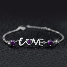 Fanqieliu 925 prata esterlina pulseiras para mulheres jóias de casamento amor encantos cristal pulseiras mulher corrente pulseira fql20318