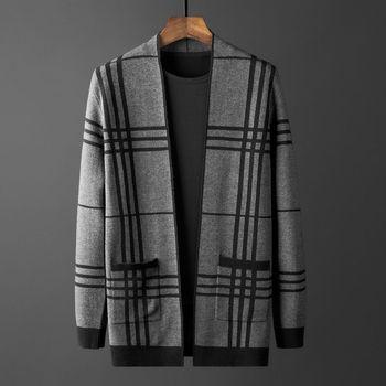 2020 New Cardigan Men s Mid-Length Plaid Cloak Knitted Shirt Coat Sweater Popular Brand