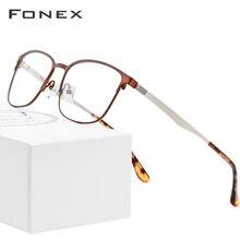 FONEX alaşım gözlük çerçeve kadın yuvarlak reçete gözlük erkekler Vintage miyopi gözlük çerçeveleri kore vidasız gözlük