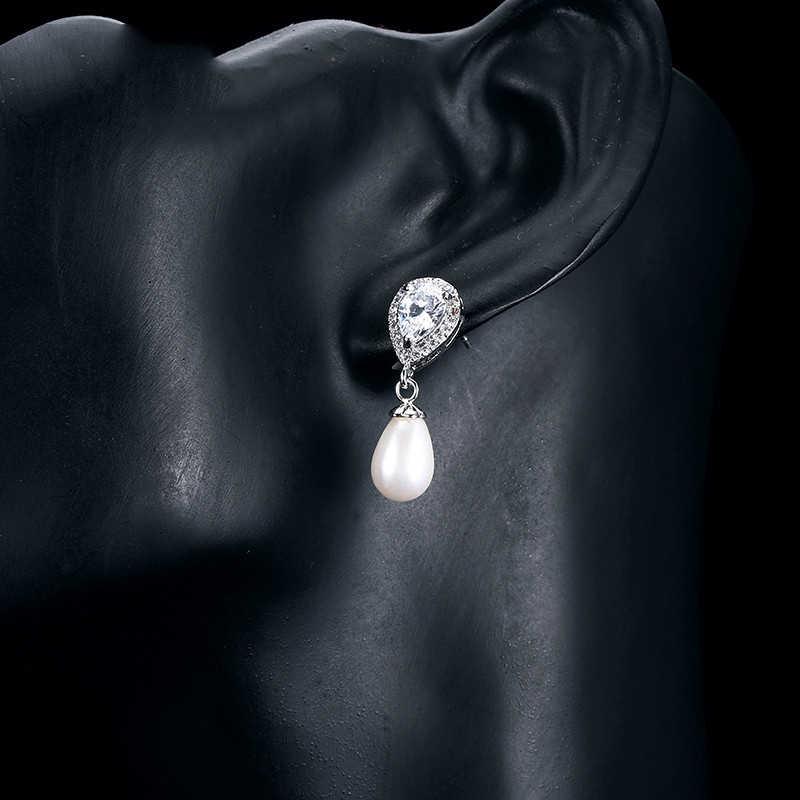 UILZ יוקרה מים Drop צורת כלה פרל עגילים לנשים AAA מעוקב Zirconia ארוך זרוק עגילי אופנה הודי תכשיטי UE516
