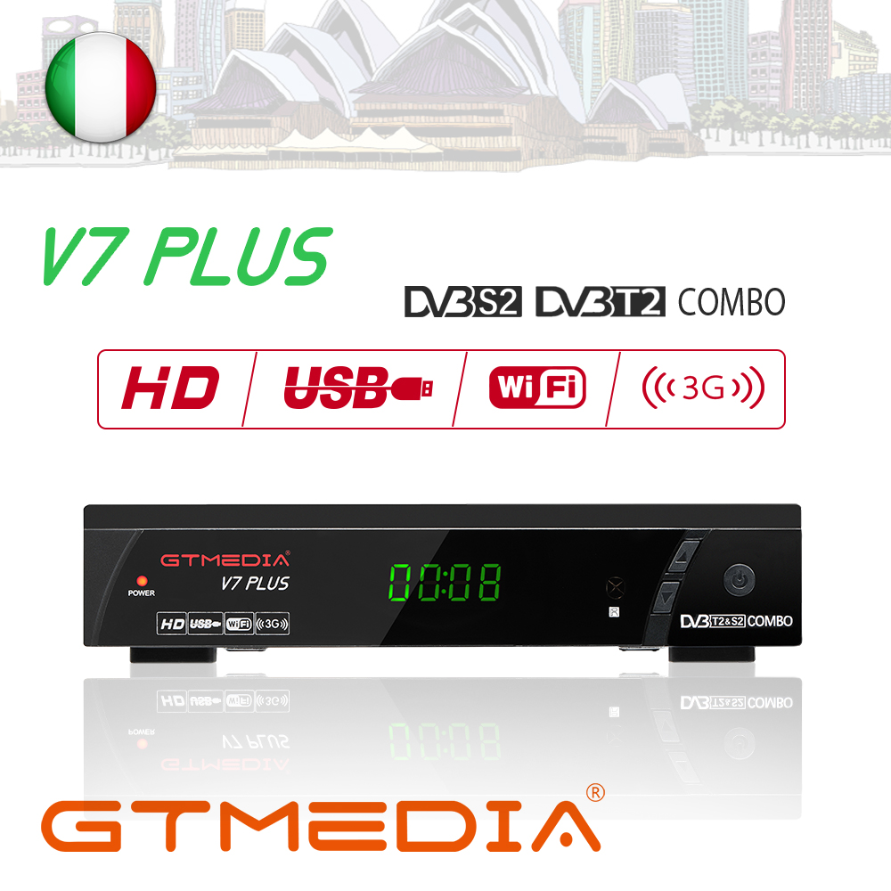 GTMedia V7 Plus Satellite Receiver DVB-S2 DVB-T2 Decoder 1080P Full HD USB WIFI Powervu Biss Key Receptor+1 Year Europe Cccam