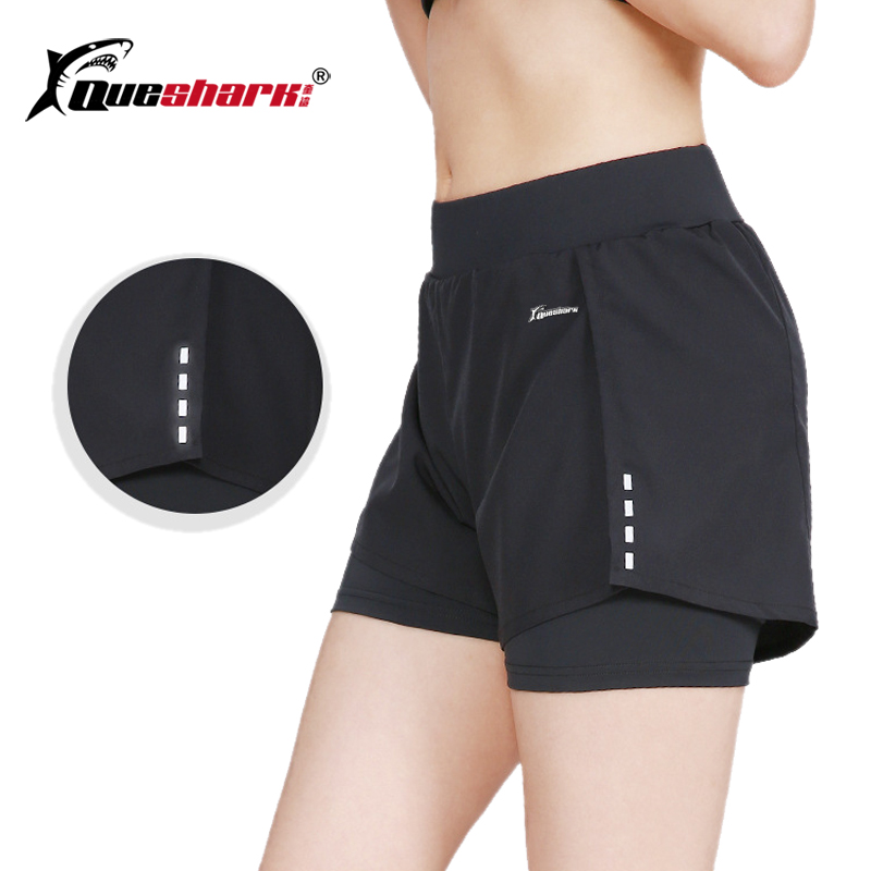 QUESHARK Women Tennis Volleyball Shorts Sports Fitness Running 2 Pieces Safety Trousers Reflective Yoga Tight Short Pants