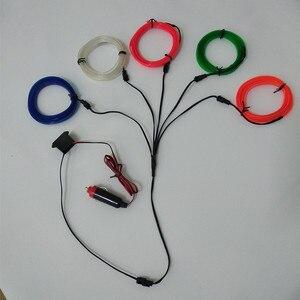 Image 5 - 1M 3M 5M רכב EL חוט led רצועת אווירת אור עבור DIY גמיש אוטומטי פנים מנורת מפלגה קישוט אורות ניאון רצועות 12V USB