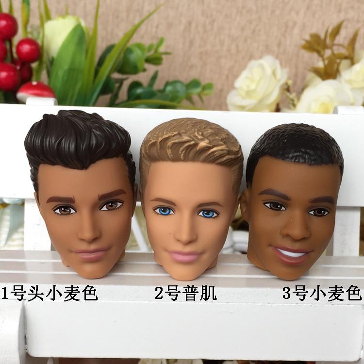 Original Boy Doll Head / Black & Brown Skin Head Accessories DIY For 1/6 Barbie Boy Boyfriend Ken Doll ,Toys For Girls