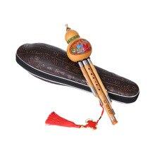 Тройной C-Key Hulusi Cucurbit флейта Бутылка Тыква бамбуковые трубы Китайский традиционный инструмент с китайским узлом чехол для переноски