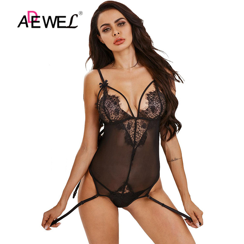 ADEWEL Women Sexy Sleeveless Black Bodysuits Sexy Lace Bodysuit Tops Teddy Mesh Transparent Overalls Body Top Female Rompers