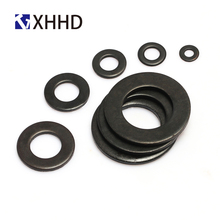 цена на Black Carbon Steel Flat Washer Round Metal Plain Gasket M2 M2.5 M3 M4 M5 M6 M8 M10 M12