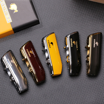 COHIBA Metal Windproof Mini Pocket Cigar Lighter 3 Jet Blue Flame Torch Cigarette Lighters With Punch Gift Box
