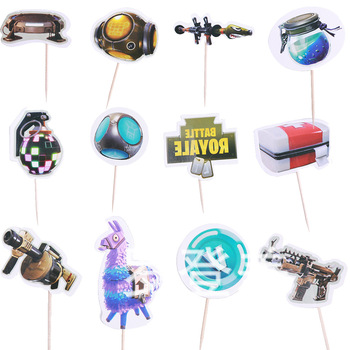 Game Party Cake Flag Fortnite Topper Birthday Cake Decoration Card Fortress Night Party Cake Topper Flag Game Decoration Flag 2