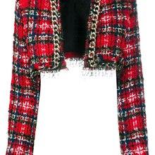 HIGH STREET Newest 2021 Designer Jacket Women's Fringed Tassel Plaid Tweed Crop Short Jacket