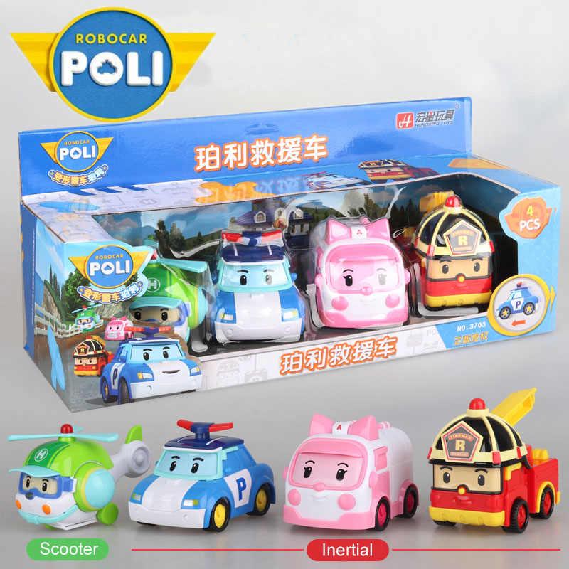 4 قطعة الأصلي بوي بولي Robocar كوريا بولي بالقصور الذاتي سيارة أطفال اللعب التحول أنيمي ألعاب شخصيات الحركة للأطفال Playmobil