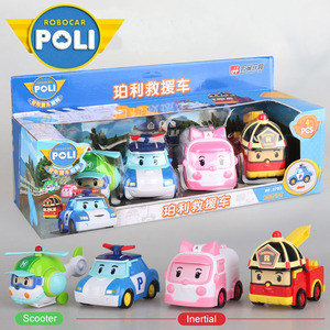 4pcs Original boy poli Robocar Korea Poli Inertial Car Kids Toys Transformation Anime Action Figure Toys For Children Playmobil(China)