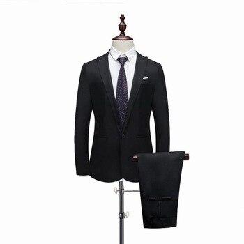 Small slim Suit Male 2019 Spring Autumn Thin Section High-end Business Suit Jacket Pants Multi-color Suits Wedding Men Blazers