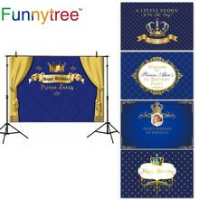 Funnytree Royal blue golden photography background prince birthday party Crown children custom backdrop photobooth photocall