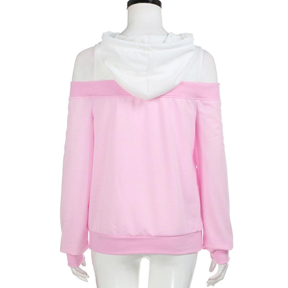 Women Cold Shoulder Long Sleeve Hoodie Sweatshirt Patchwork Pullover Tops Blouse