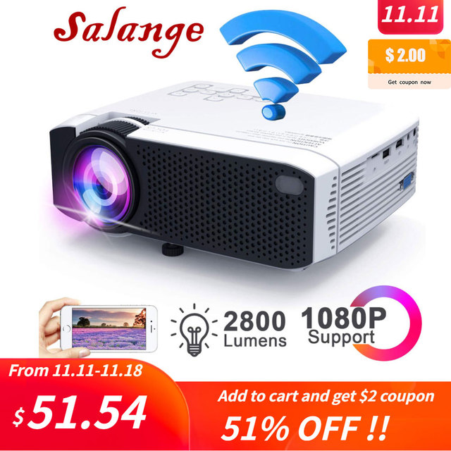 Salange E400S LED Projector, Mini Projector for smartphone, Wireless or USB Mirror For iPhone Android phone, Wifi Video Beamer