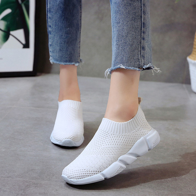 Lucyever Women Spring Autumn Sneaker Knitted Mesh Vulcanized Shoes  3