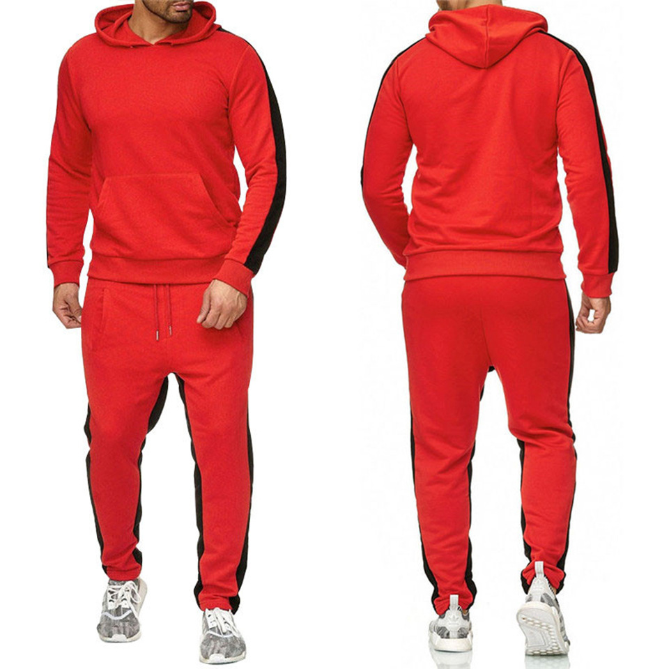 Hot Selling Sports Striped Suit Men Fitness Casual Loose-Fit Ouma Hoodie Set