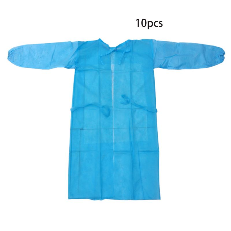 10 Pack Blue Disposable Isolation Gown Protective Isolation Gown Clothing