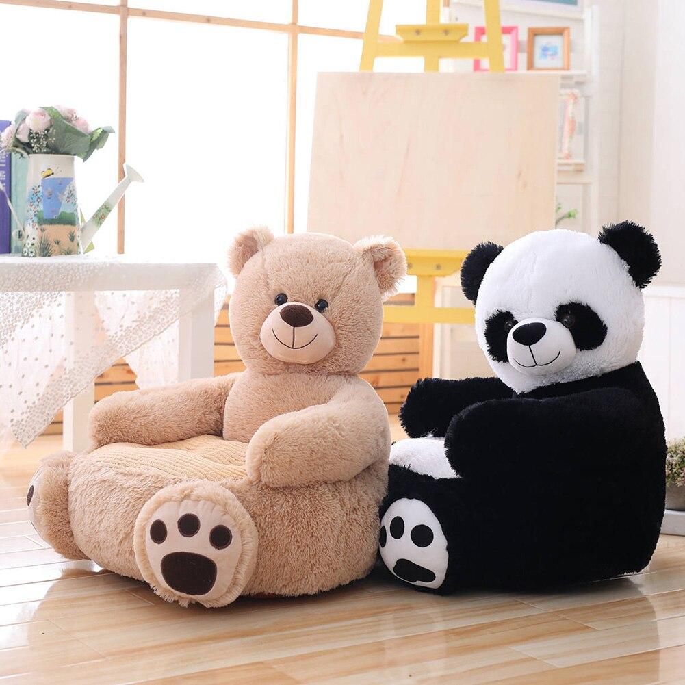 Bebê crianças sofá apenas capa sem enchimento dos desenhos animados animal urso assento cadeira crianças puff pele da criança capa para sofá assento