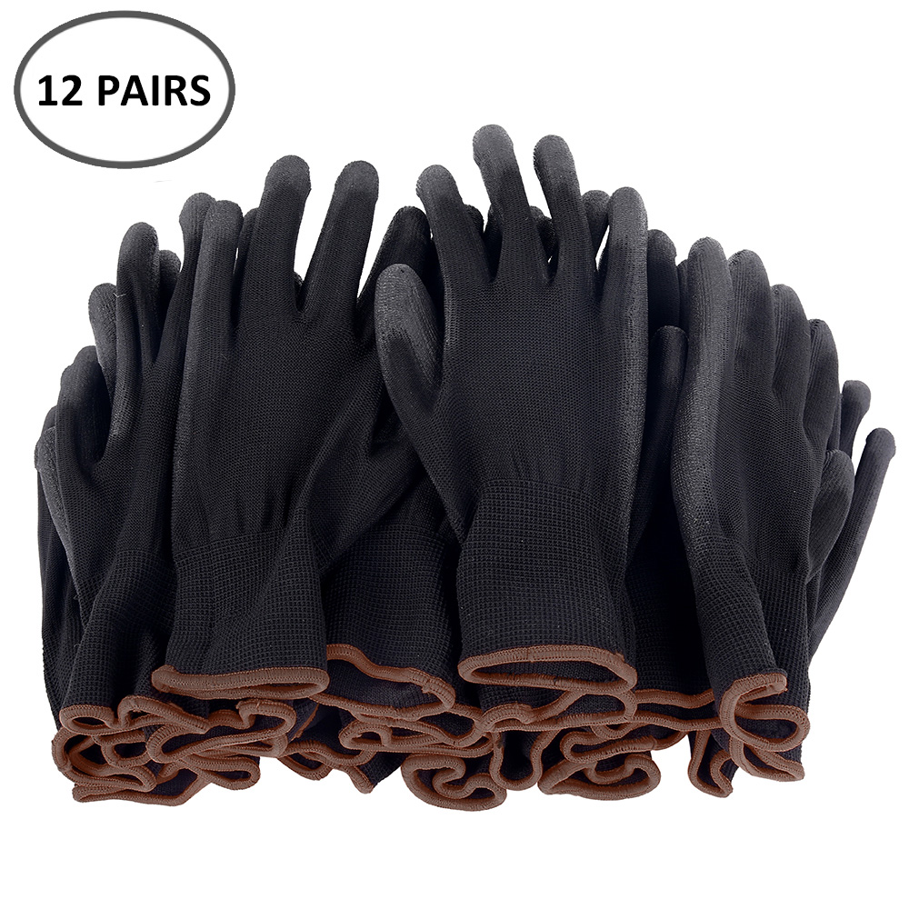 12 Pairs S/M/L Nylon PU Safety Working Gloves Builders Grip For Palm Coating Gloves Carpenters Maintenance Workers Supplies