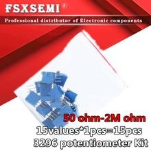 15values*1pcs=15pcs 3296W adjustable potentiometer Kit contains 3296 50R 100R 200R 500R 1K 2K 5K 10K 20K 50K 100K 200K 1M 2M ohm