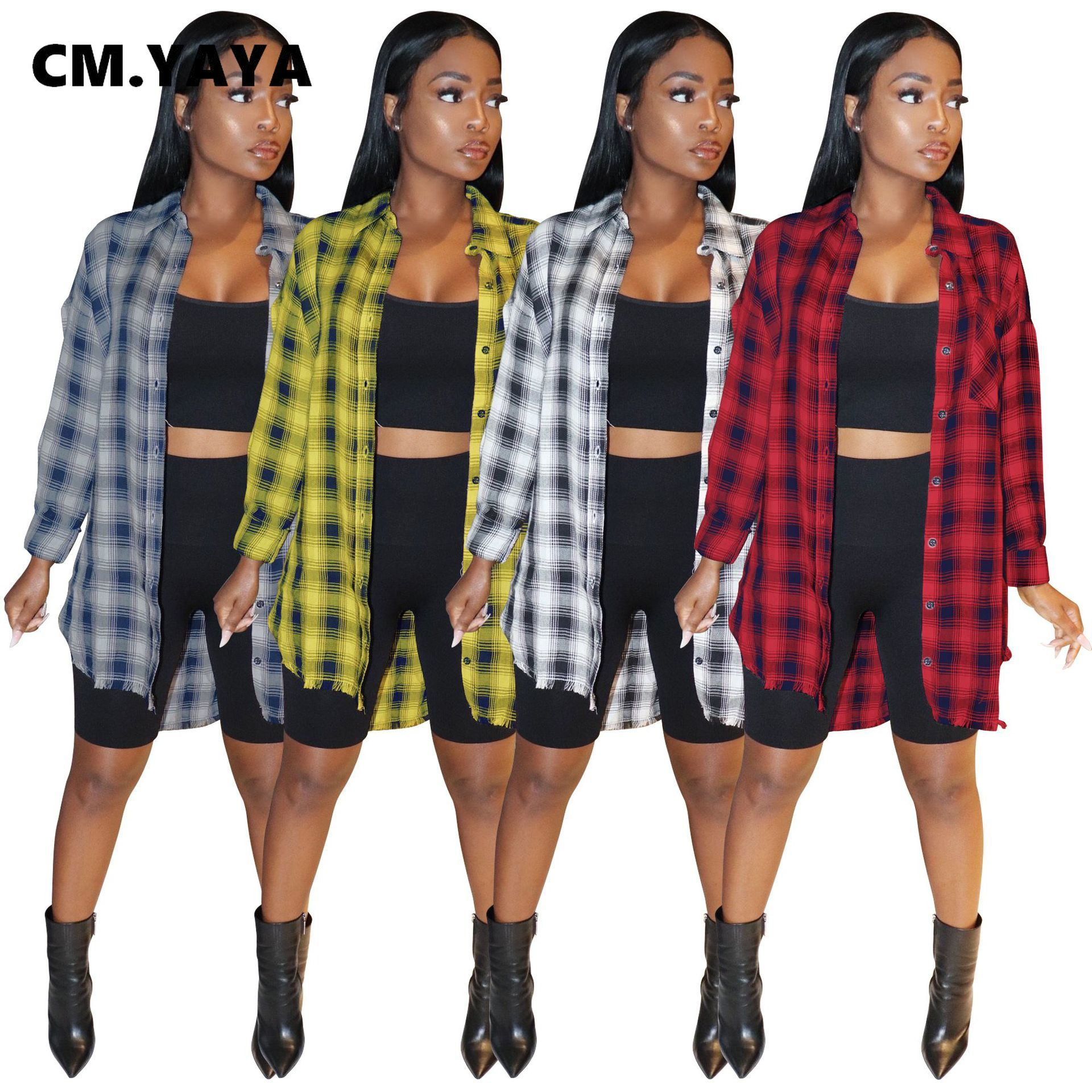 CM.YAYA-Blusa de manga larga abotonada a cuadros para mujer, camisas y blusas de gran tamaño con cuello vuelto, ropa de calle para invierno 2021