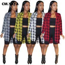 CM.YAYA kobiety Plaid długi guzik na rękawie Up skręcić w dół szyi koszule Oversized & bluzki topy 2021 winter sping streetwear