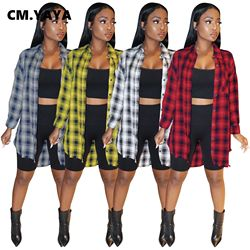 CM.YAYA Women Plaid Long Sleeve Button Up Turn-down Neck Oversized Shirts & Blouses Tops 2021 winter sping streetwear