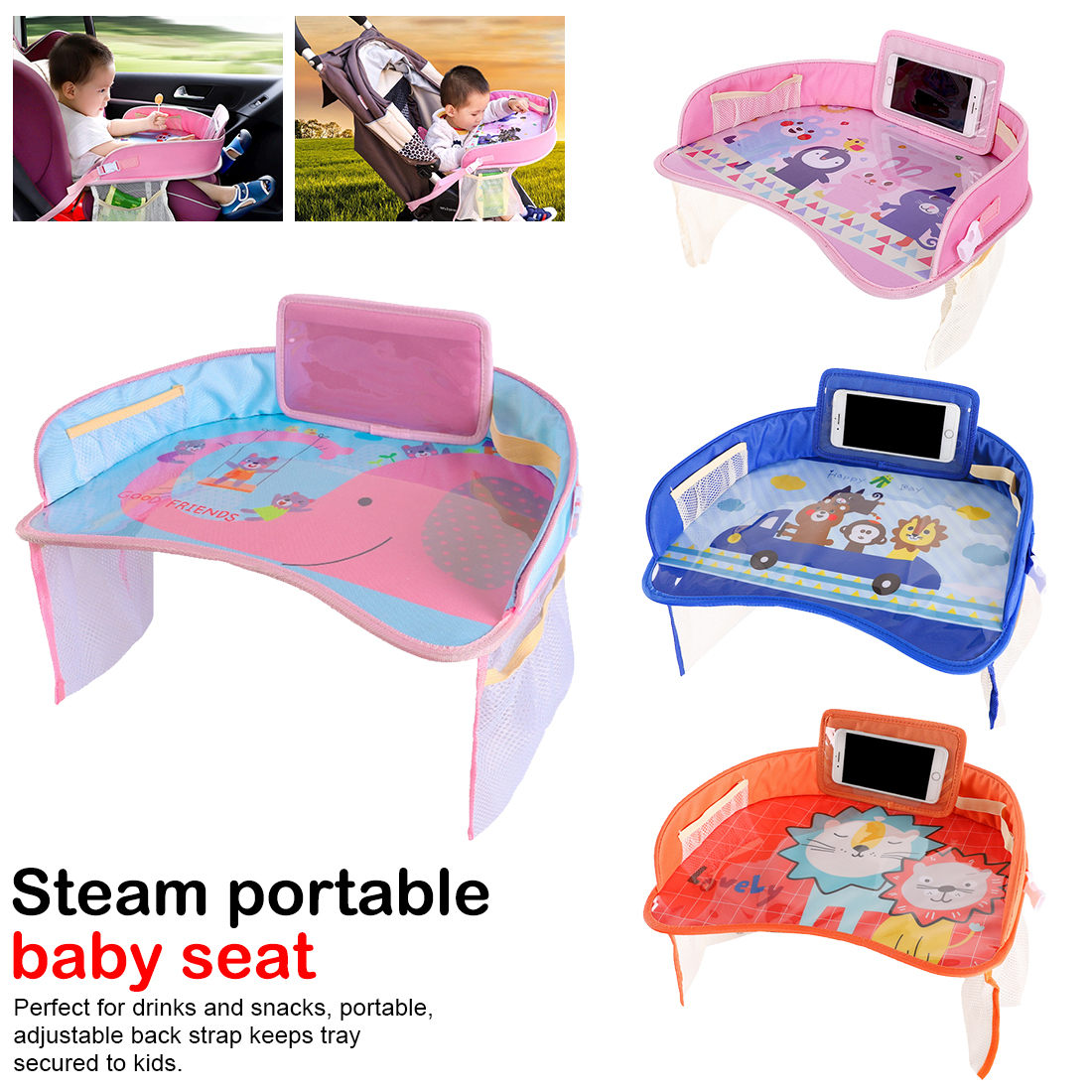 2019 Hot Sell!Car Baby Safety Seat Tray Child Car Can Be Stored Waterproof Cart Plate Small Table