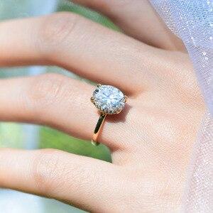 Image 5 - Kuololitรูปไข่8X10 Moissaniteแหวนผู้หญิงแหวนทองคำขาว10K Dสีฟ้าสีเขียวSolitaireหมั้นเครื่องประดับFine 585