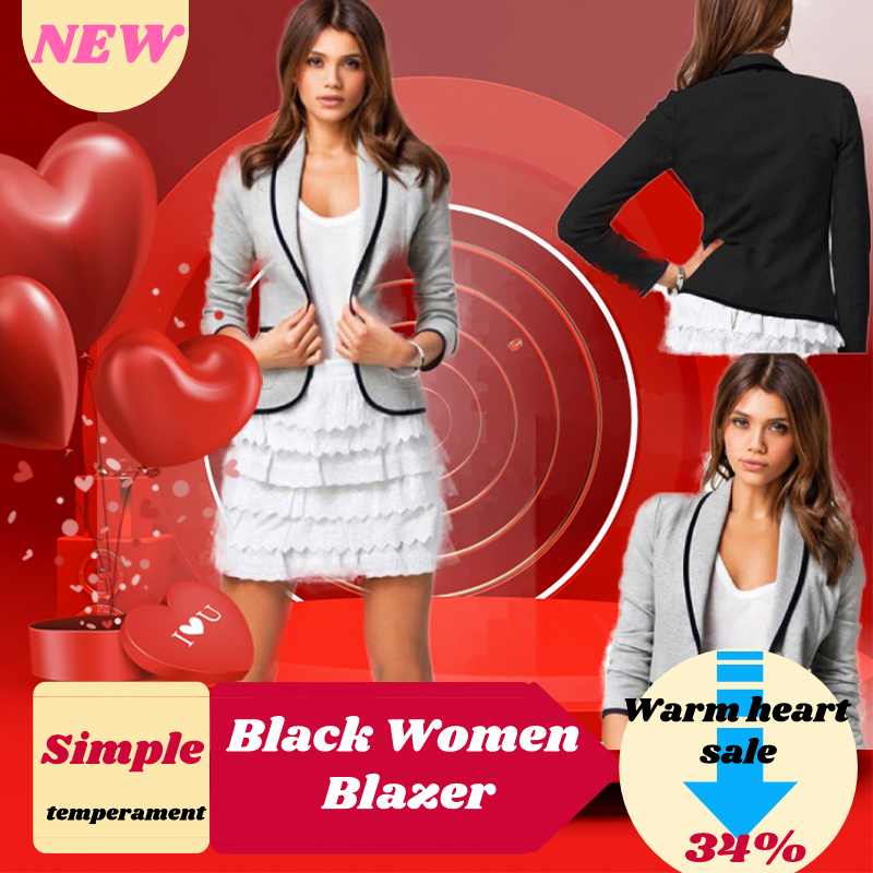 (free Gift)2019 Formal Blazers Lady Black Women Blazer Long Sleeves Lapel Short Coat Jacket Outwear Slim Black Women Jackets