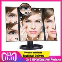 LED Touchscreen 22 Licht Make-Up Spiegel Tabelle Desktop Make-Up 1X/2X/3X/10X Vergrößerungs Spiegel Eitelkeit 3 Folding Einstellbare Spiegel