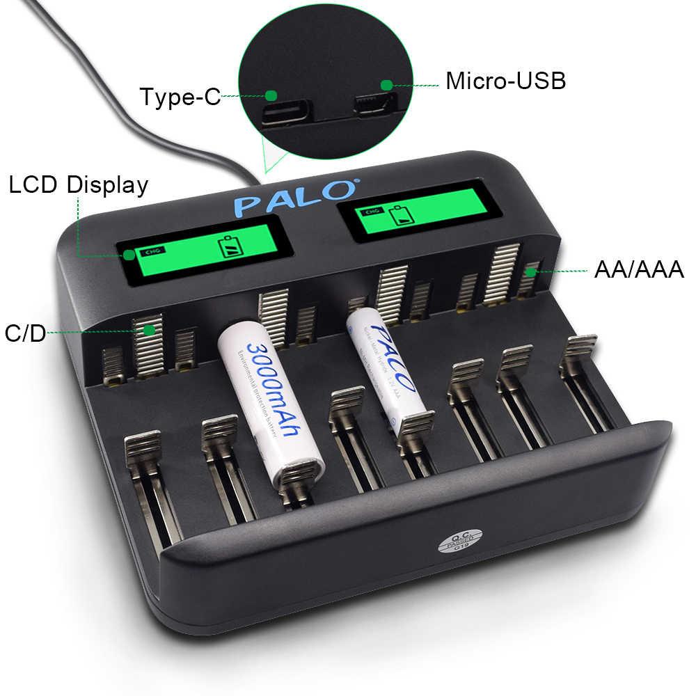 PALO ЖК-дисплей USB Smart AA зарядное устройство для AA AAA SC C D размер аккумуляторная батарея + 1,2 в AA AAA перезаряжаемые батареи