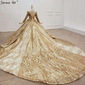 Image 2 - Altın lüks uzun kollu o boyun gelinlik 2020 Dubai boncuk Sequins High end gelin elbise HX0130 custom Made