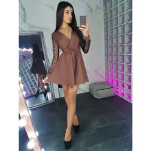 Women Vintage Lace Patchwork Sashes A-line Party Dress Long Sleeve Sexy V neck S