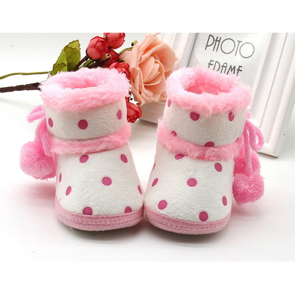 Infant Baby Girls Soft Booties Snow Boots Toddler Girl Dot Print Fashion Warming Shoes Girls Winter Cute Boots With Bow Ball