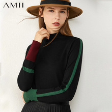 AMII Minimalism Autumn Women's Sweater Fashion Contrasting Color Design Turtleneck Women Pullover Female Tops 12030375
