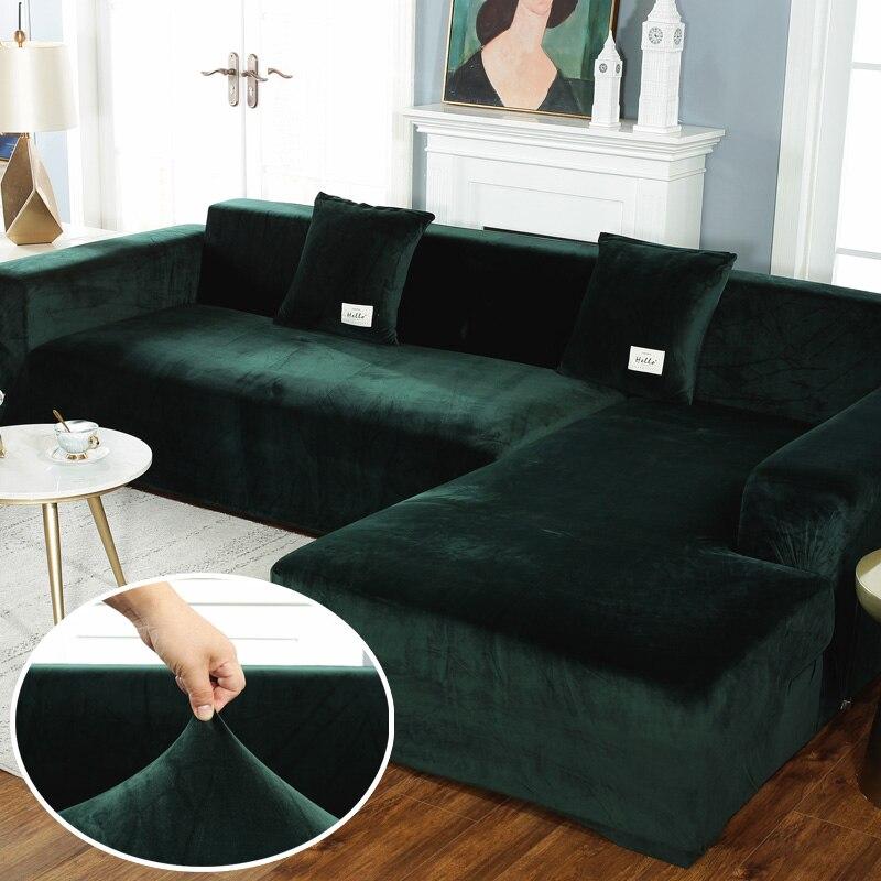 Fodere per divani in peluche elasticizzato per soggiorno poltrona angolare in velluto divano pieghe set di fodere mobili a forma di L a 2 e 3 posti